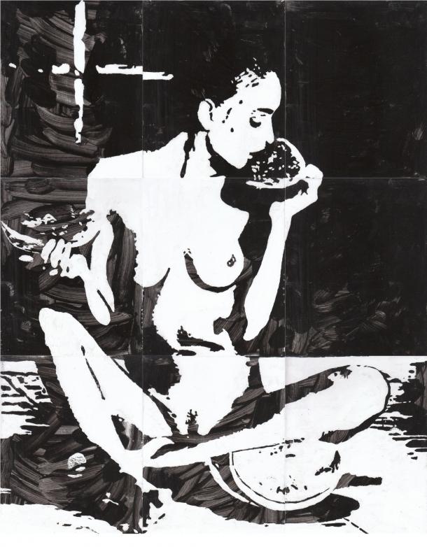 Fliesen-Bild: Frau mit Melone
