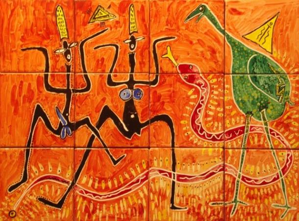 Fliesen-Bild: Tanz mit der Schlange