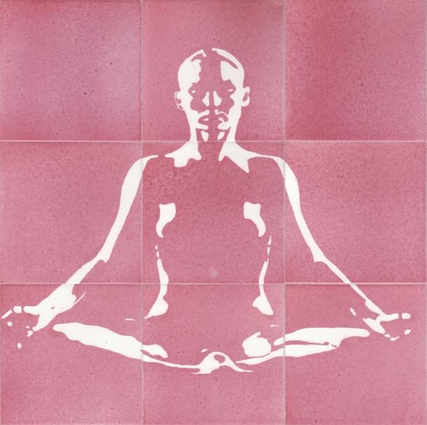 Fliesen-Bild: Yoga, rosa
