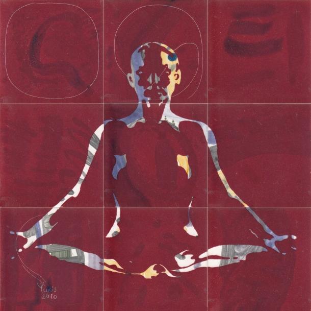Fliesen-Bild: Yoga, rot