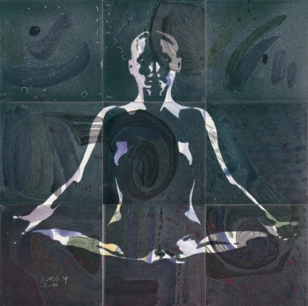 Fliesen-Bild: Yoga, gruen