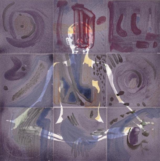 Fliesen-Bild: Yoga, violett