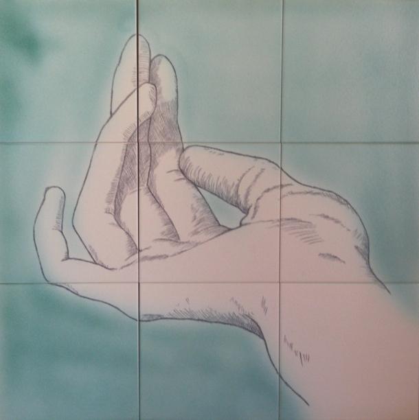 Fliesen-Bild: Helfende Hand